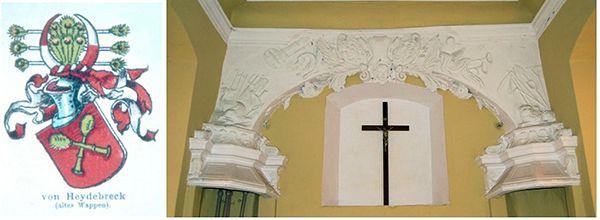 Po lewej: herb rodziny von Heydebreck. Po prawej: ornament w kaplicy z wyobrażeniami lwa, smoka, wieloryba, anioła, narzędzi rolniczych, broni i instrumentów muzycznych. W części centralnej zbroja i głowa anioła, a po obu stronach herby rodzin von Heydebreck i von der Goltz