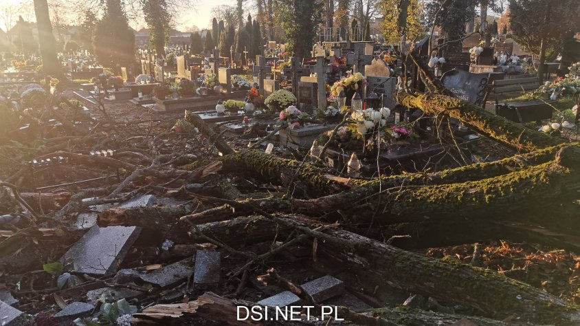 Duże zniszczenia na drawskim cmentarzu. Drzewo zwaliło się na nagrobki.