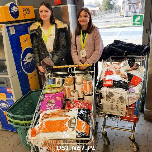"""Uczniowie Andersa wspierali złocieniecką akcję """"zbiórka karmy dla zwierząt ze schroniska"""