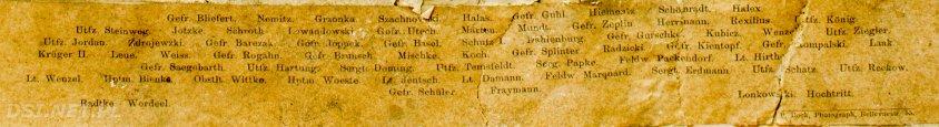 Fragment zdjęcia zawierający nazwiska. Wśród nich są także polsko brzmiące, jak Grzonka, Szachnowski, Halas, Lewandowski, Zdrojewzki, Kubicz, czy Radzicki.