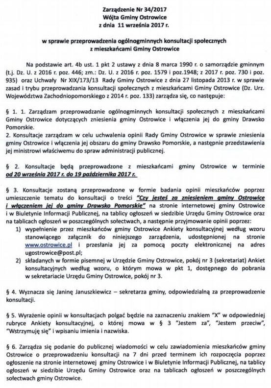 Mieszkańcy Ostrowic też będą mogli się wypowiedzieć czy chcą być przyłączeni do Drawska