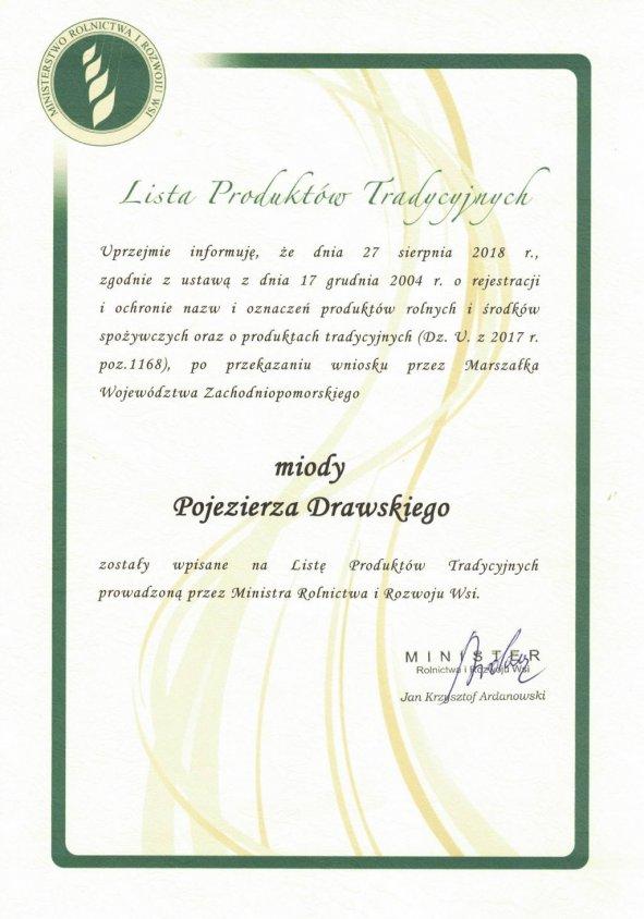 Miody Pojezierza Drawskiego z Czarnego Wielkiego wpisane na Listę Produktów Tradycyjnych
