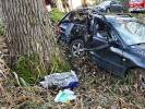 2019-10-27 Osobówka uderzyła w drzewo, Kierowca był pod wpływem alkoholu.