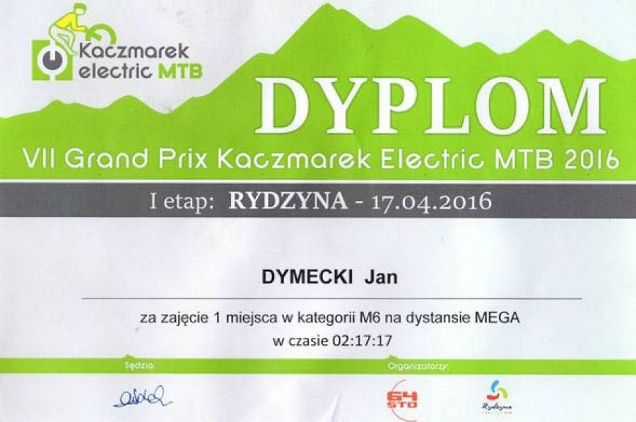 Jan Dymecki drugi w Grand Prix Kaczmarek Electric MTB 2016