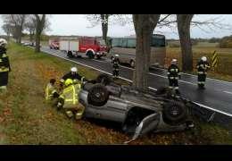Samochód dachował w okolicach Siemczyna