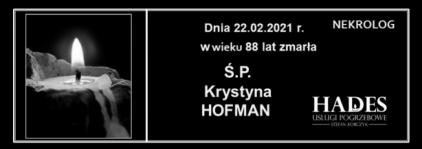 Ś.P. Krystyna Hofman