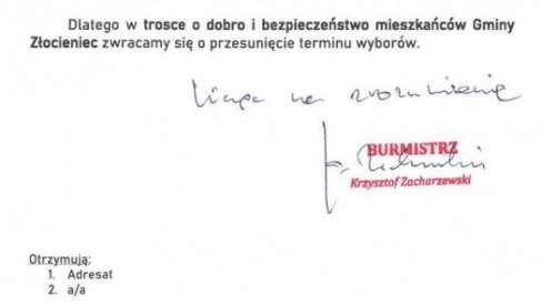 Burmistrz Złocieńca napisał do komisarza wyborczego w sprawie terminu Wyborów Prezydenckich