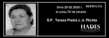 Ś.P. Teresa Pieśla  z.d. Plichta