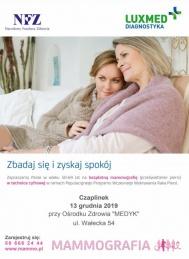 2019-12-13  Mammografia dla kobiet - Bezpłatnie - Czaplinek