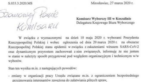 Burmistrz Mirosławca Piotr Pawlik również pisze pismo w sprawie wyborów. Ma argumenty