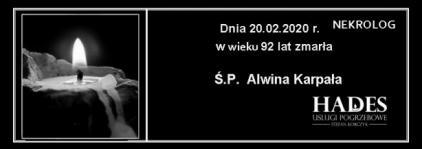 Ś.P. Alwina Karpała