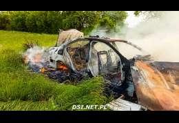 W Cieszynie spłonął samochód. Zobaczcie ile zostało z pojazdu